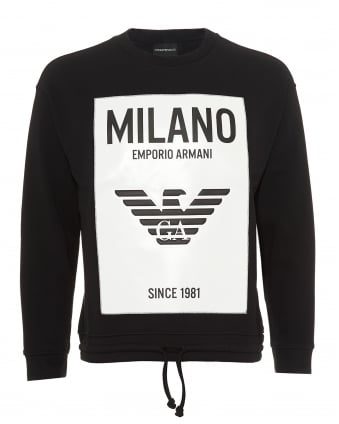 Mens Milano City Rubberised Panel Sweatshirt, Black Sweat