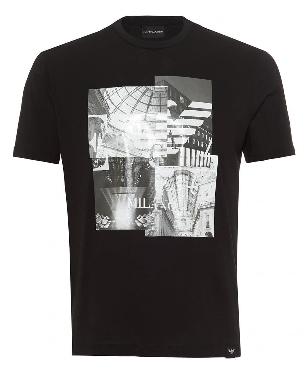 2c6323b0 Emporio Armani Mens Milano Print T-Shirt, Regular Fit Black Tee