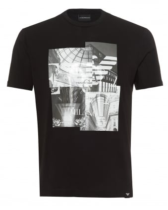 Mens Milano Print T-Shirt, Regular Fit Black Tee