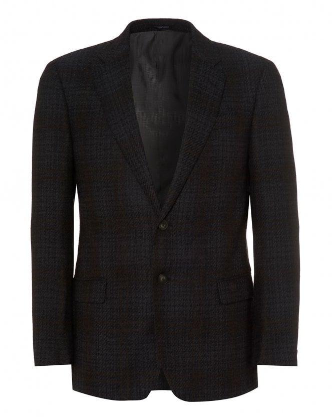 Emporio Armani Mens Modern Fit Blazer, Charcoal Black Jacket