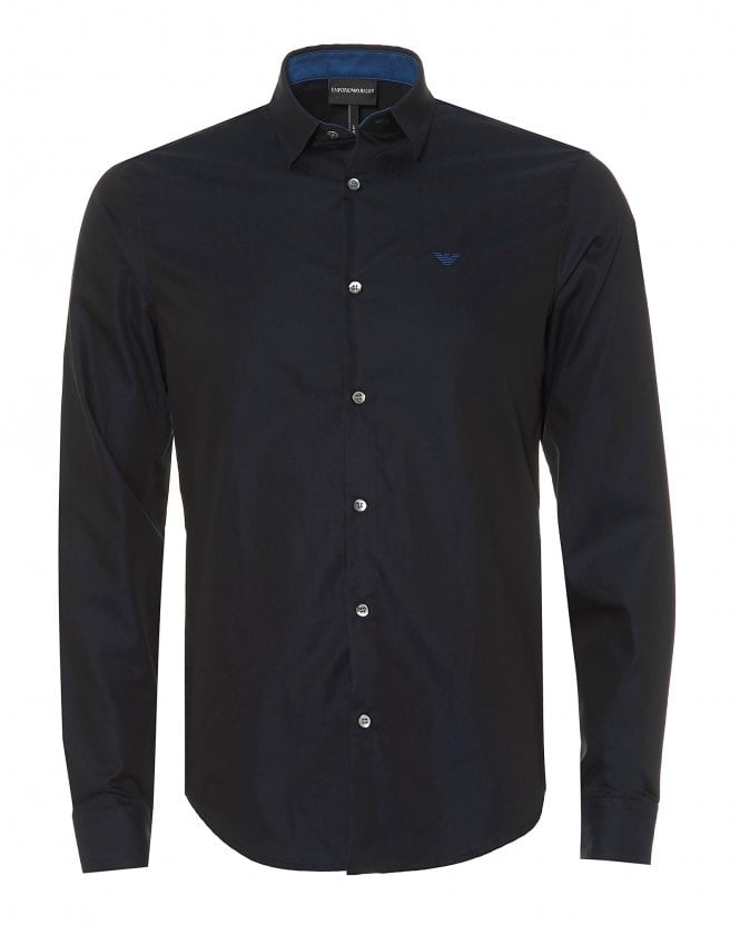 Emporio Armani Mens Modern Fit Eagle Printed Cotton Navy Blue Shirt