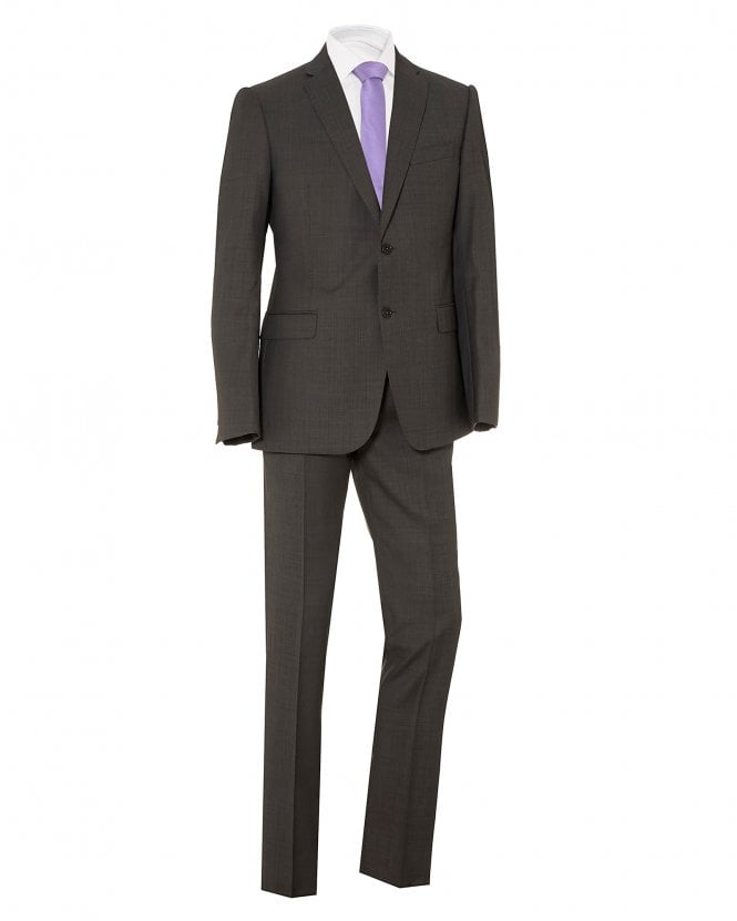 Emporio Armani Mens Modern Fit Suit, Grey Virgin Wool Suit