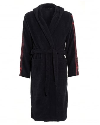 Mens Navy Blue Logo Dressing Gown
