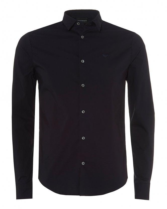 Emporio Armani Mens Navy Blue Slim Fit Cotton Poplin Shirt