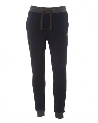 Mens Navy Blue Trackpants, Regular Fit Logo Sweatpants
