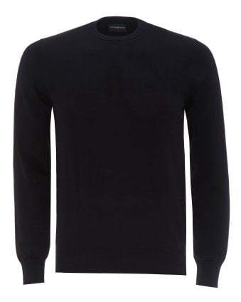 06128203f01 Mens Navy Classic Wool Crewneck Jumper