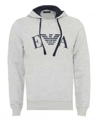 Mens Overhead Hoodie, EA Logo Front Grey Sweat