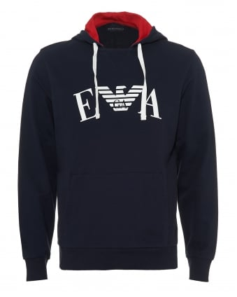 Mens Overhead Hoodie, EA Logo Front Navy Blue Sweat
