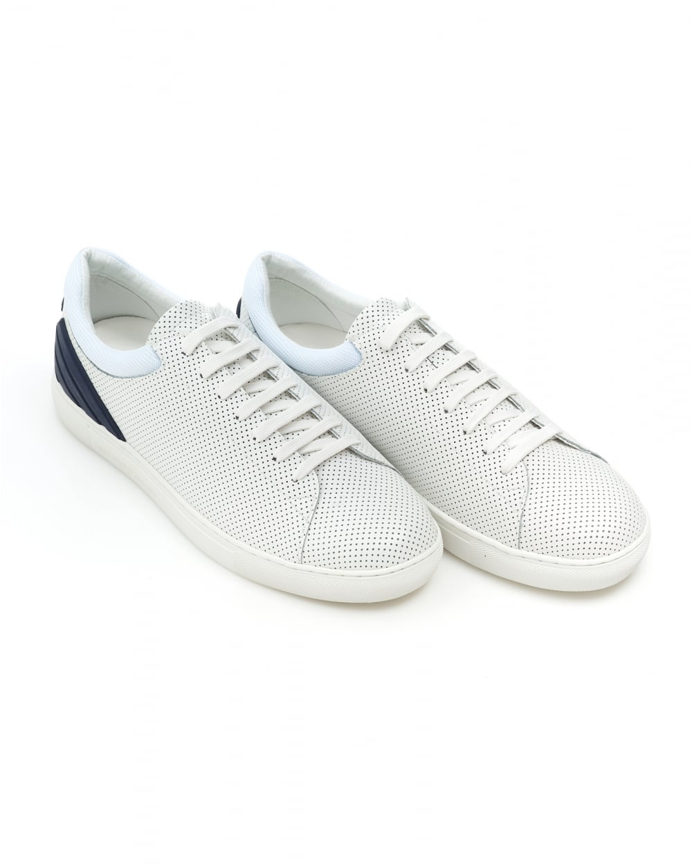 ce8b5482 Emporio Armani Mens Perforated Trainers, Lace Up White Leather ...