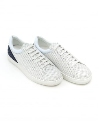 Mens Perforated Trainers, Lace Up White Leather Sneakers