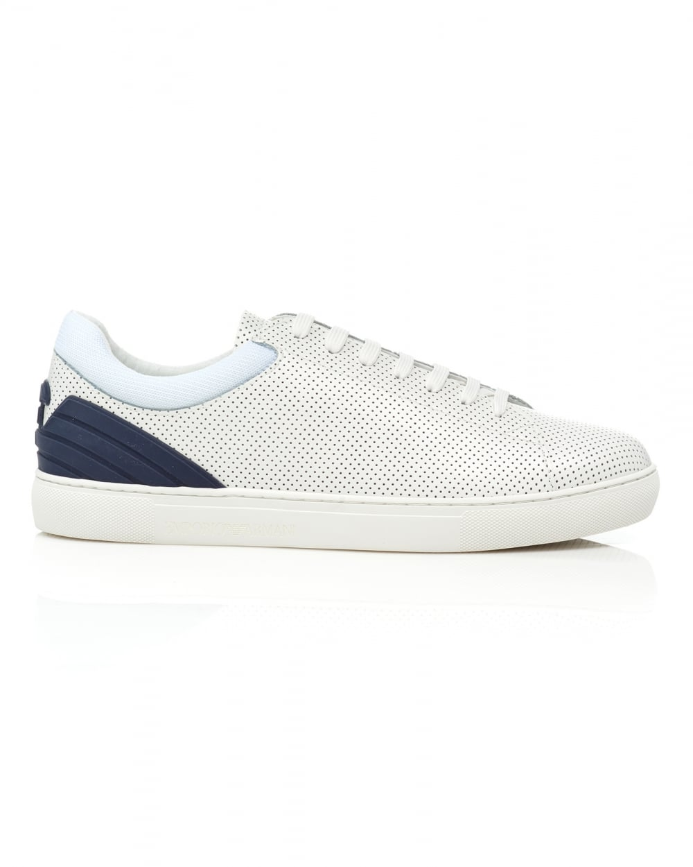 c138e349 Mens Perforated Trainers, Lace Up White Leather Sneakers