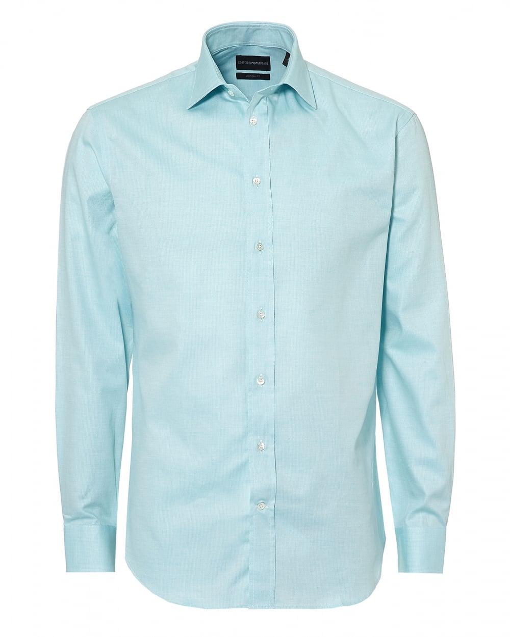 Emporio armani mens pin point cutaway regular fit aqua for Aqua blue mens dress shirt