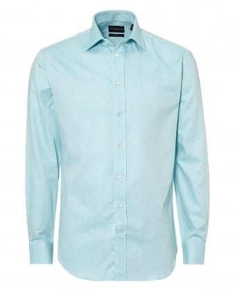 Mens Pin Point Cutaway Regular Fit Aqua Blue Shirt