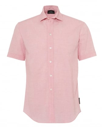Mens Pink Seer Sucker Linen Regular Fit Shirt
