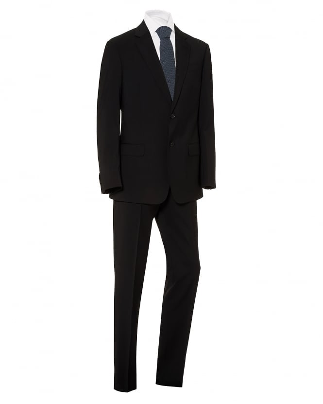 Emporio Armani Mens Plain Black Wool With Natural Stretch Suit