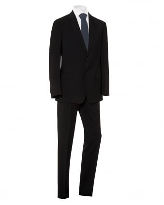 Mens Plain Black Wool With Natural Stretch Suit