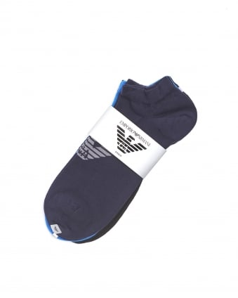 Mens Plain Blue Black Navy Logo Trainer Socks