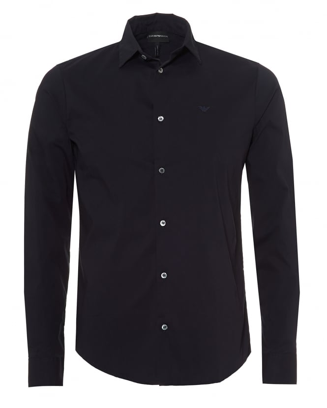 Emporio Armani Mens Poplin Stretch Shirt, Slim Fit Navy Blue Shirt