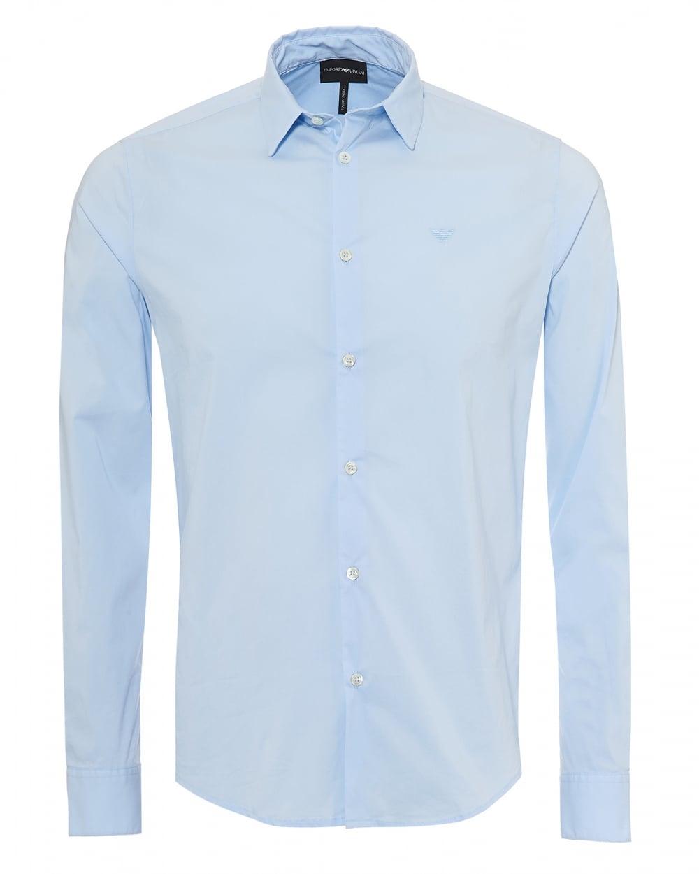 Sky Shirt Mens Emporio Blue Poplin Stretch Armani ShirtSlim Fit R4L3jq5A