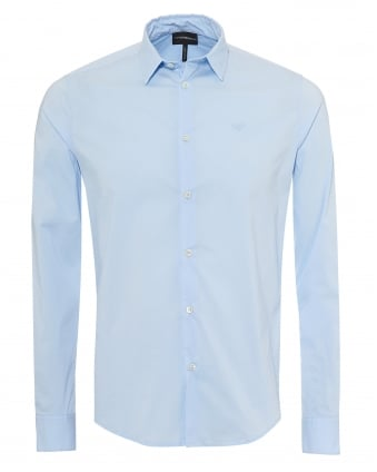 Mens Poplin Stretch Shirt, Slim Fit Sky Blue Shirt