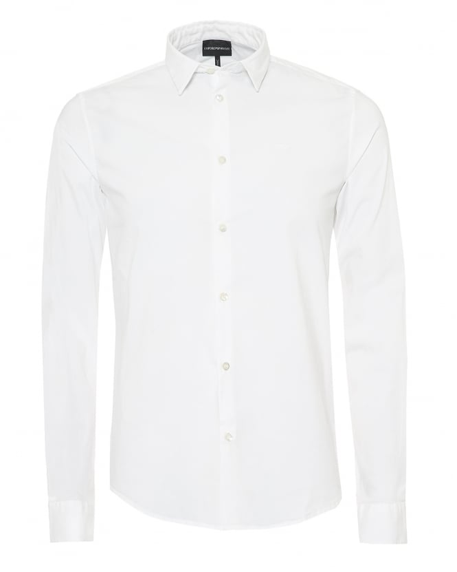 Emporio Armani Mens Poplin Stretch Shirt, Slim Fit White Shirt