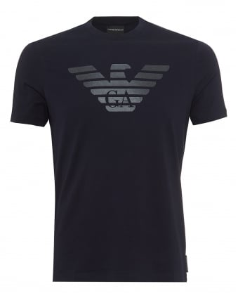 Mens Rubberised Eagle T-Shirt, Front & Back Branding Navy Blue Tee