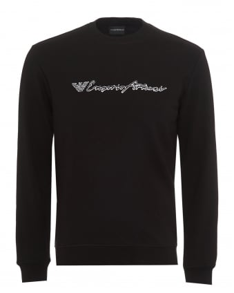 Mens Script Logo Sweatshirt, Regular Fit Black Sweat