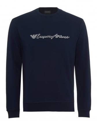 Mens Script Logo Sweatshirt, Regular Fit Navy Blue Sweat