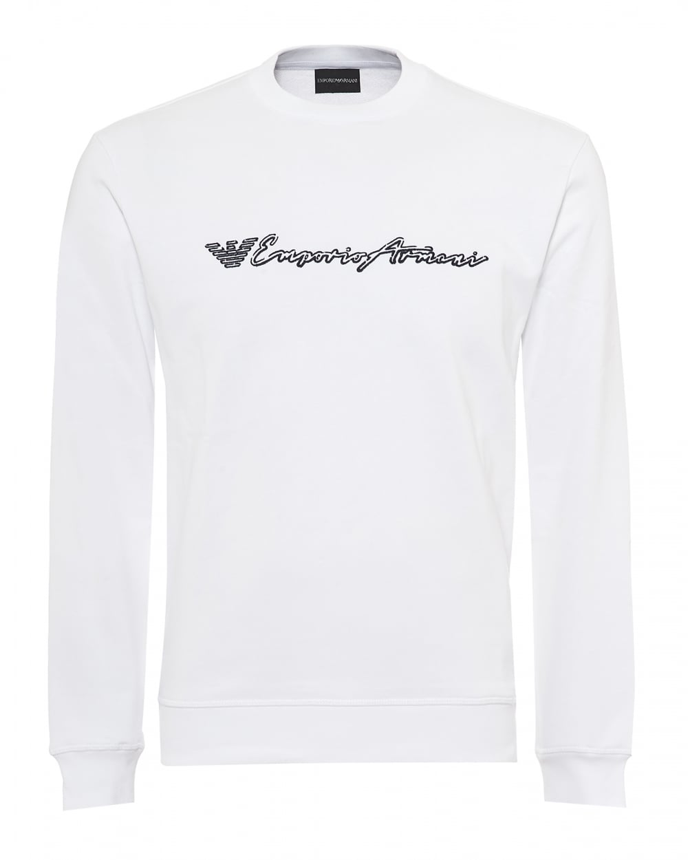 858179e3f1293 Emporio Armani Mens Script Logo Sweatshirt, Regular Fit White Sweat