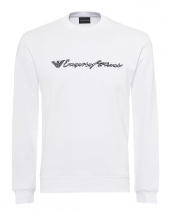 Mens Script Logo Sweatshirt, Regular Fit White Sweat