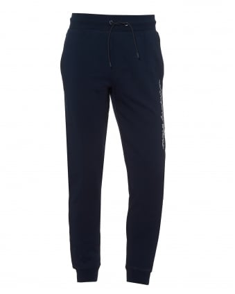 Mens Script Logo Trackpants, Cuffed Navy Blue Sweatpants