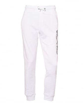 Mens Script Logo Trackpants, Cuffed White Sweatpants