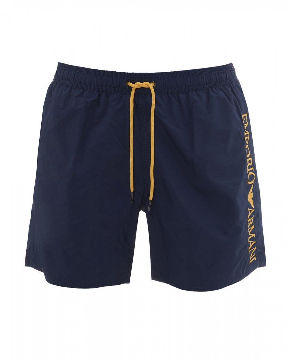 9c0bd38706 Emporio Armani Mens Side Logo Swimshorts, Blue & Yellow Trunks