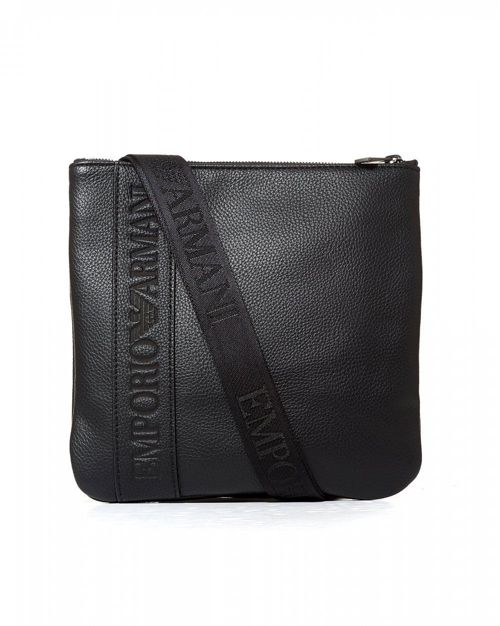 764f3cb761 Emporio Armani Mens Silver Eagle Logo Black Cross Body Stash Bag