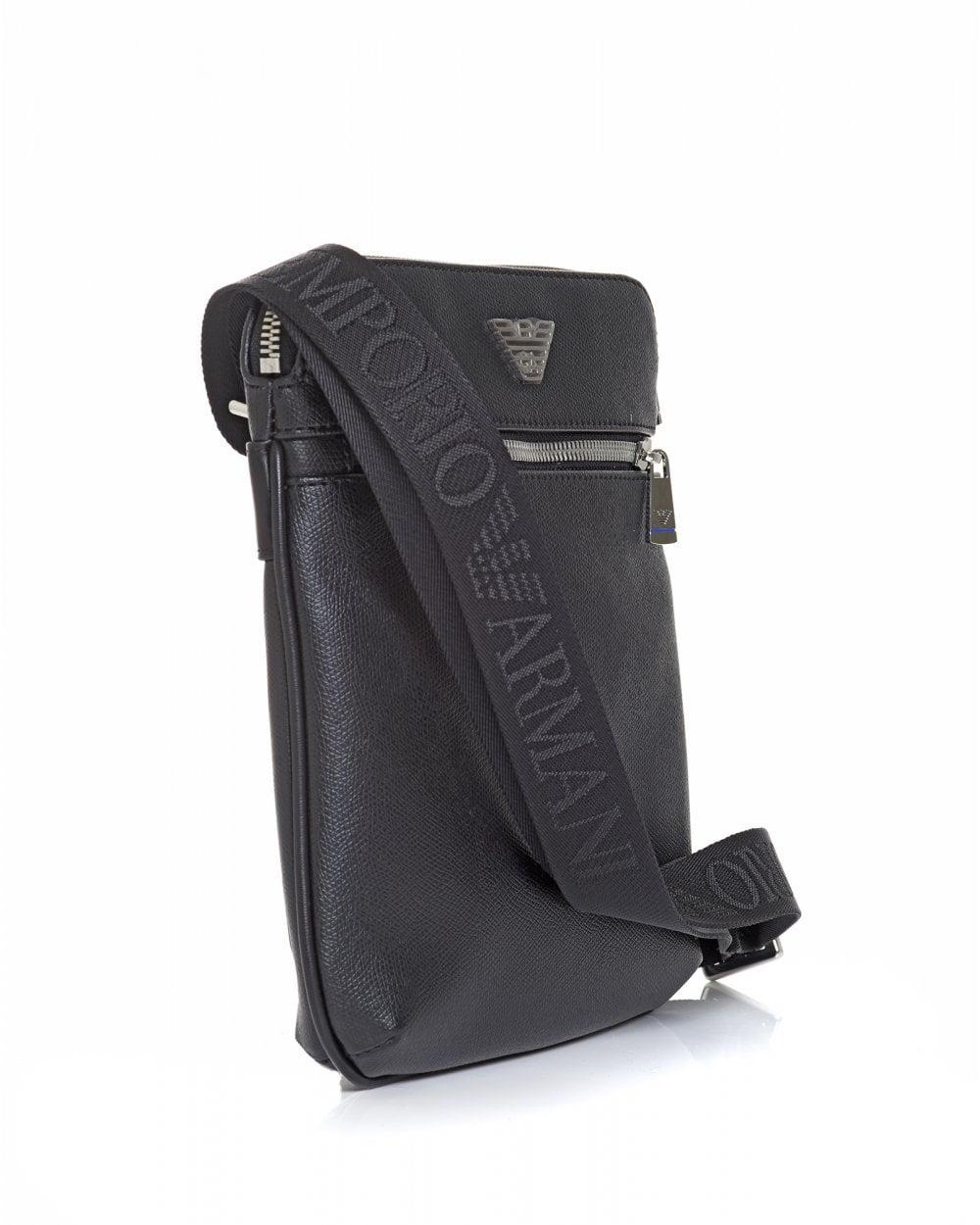 532193cd7d Emporio Armani Mens Silver Eagle Logo Black Crossbody Stash Bag