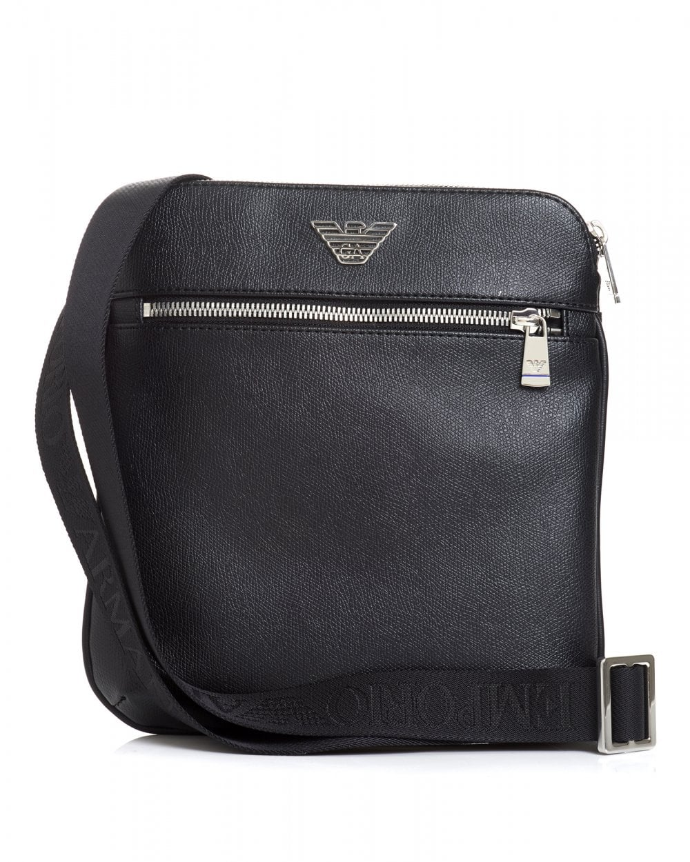 4bfa7c3e8524 Emporio Armani Mens Silver Eagle Logo Black Crossbody Stash Bag