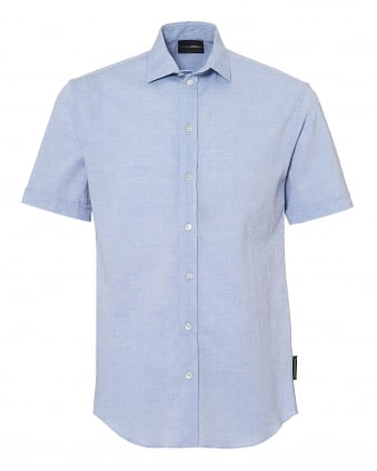 Mens Sky Blue Seer Sucker Linen Regular Fit Shirt