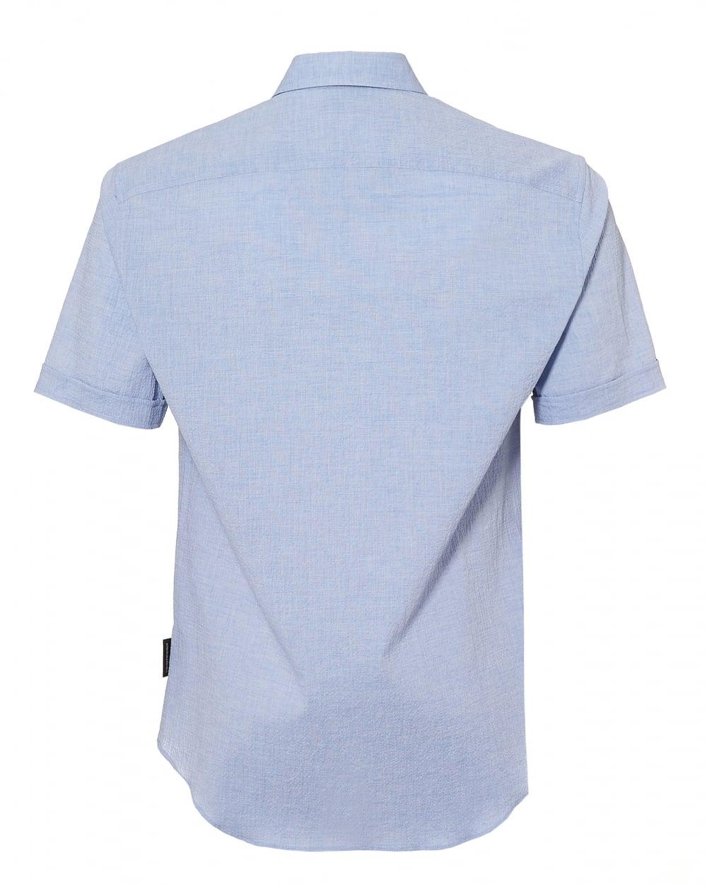 e1203a0f Emporio Armani Mens Sky Blue Seer Sucker Linen Regular Fit Shirt