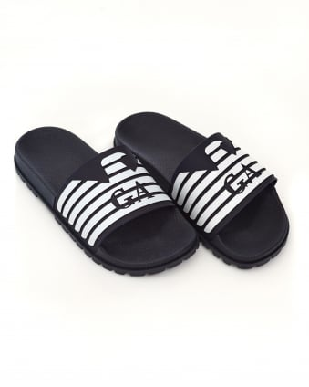 Mens Sliders, Rubberised Eagle Blue Flip Flops