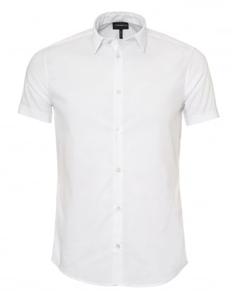 Mens Slim Fit Short Sleeve White Poplin Shirt
