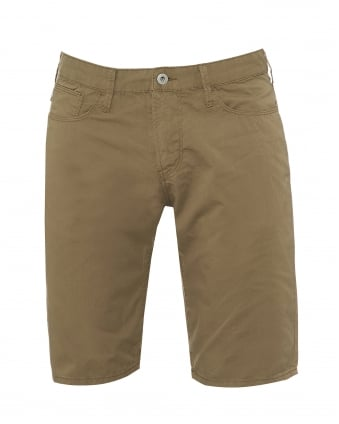Mens Slim Fit Shorts, Cotton Olive Green Shorts