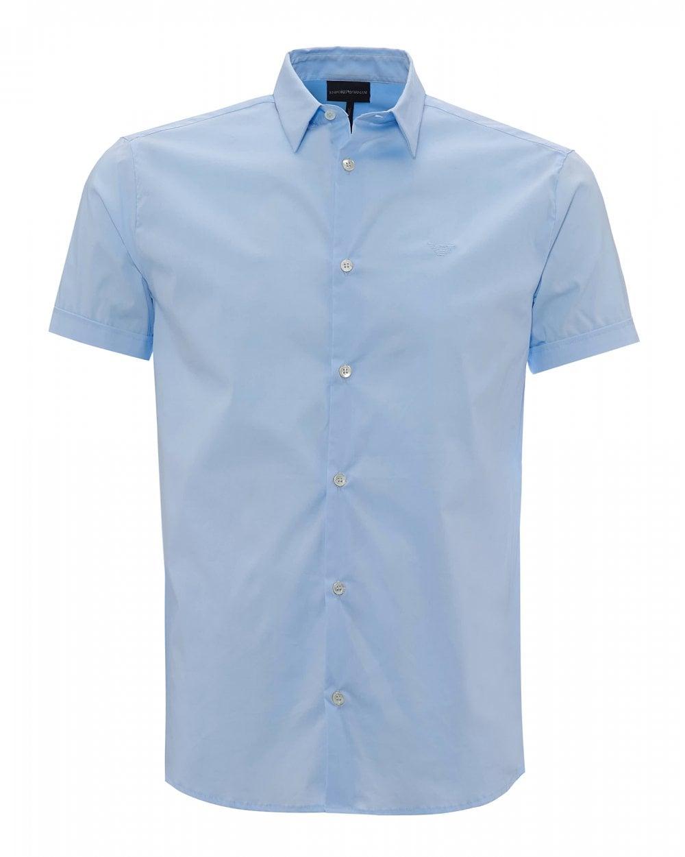 94cd6eb3 Emporio Armani Mens Slim Fit Sky Blue Poplin Stretch Shirt