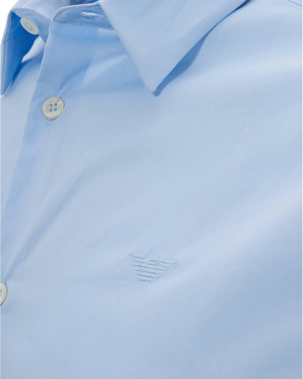 20d10d56 Emporio Armani Mens Slim Fit Sky Blue Poplin Stretch Shirt