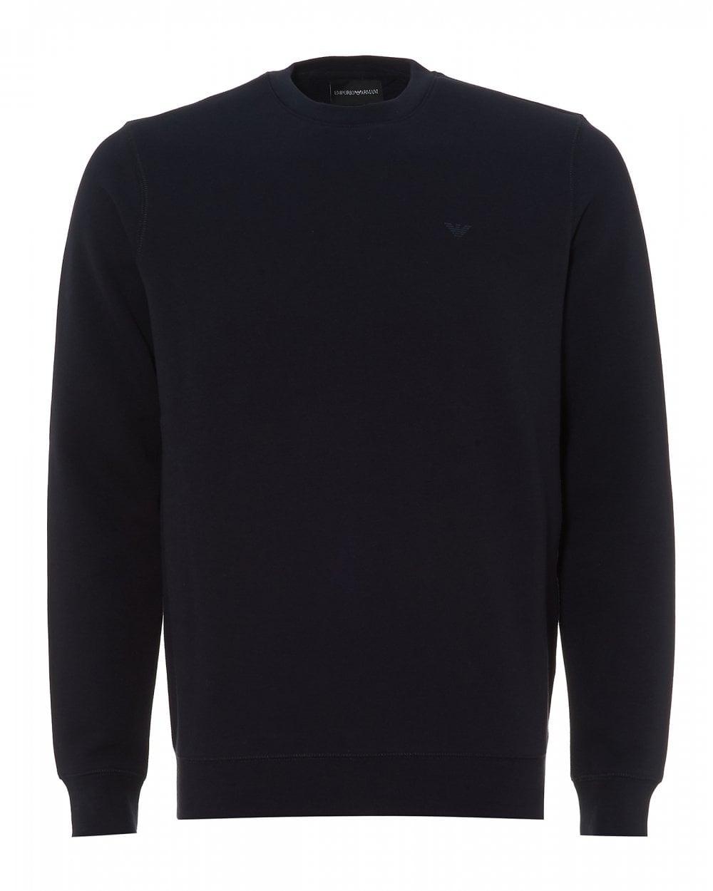e15f6ad4a9976 Emporio Armani Mens Small Logo Sweatshirt, Navy Blue Crew Neck Sweat