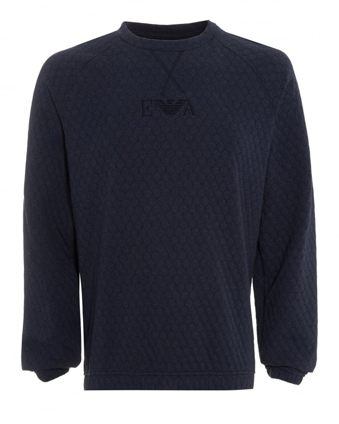 Emporio Armani Mens Sweatshirt, Honeycomb Jersey Navy Blue Jumper