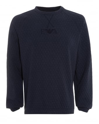 Mens Sweatshirt, Honeycomb Jersey Navy Blue Jumper