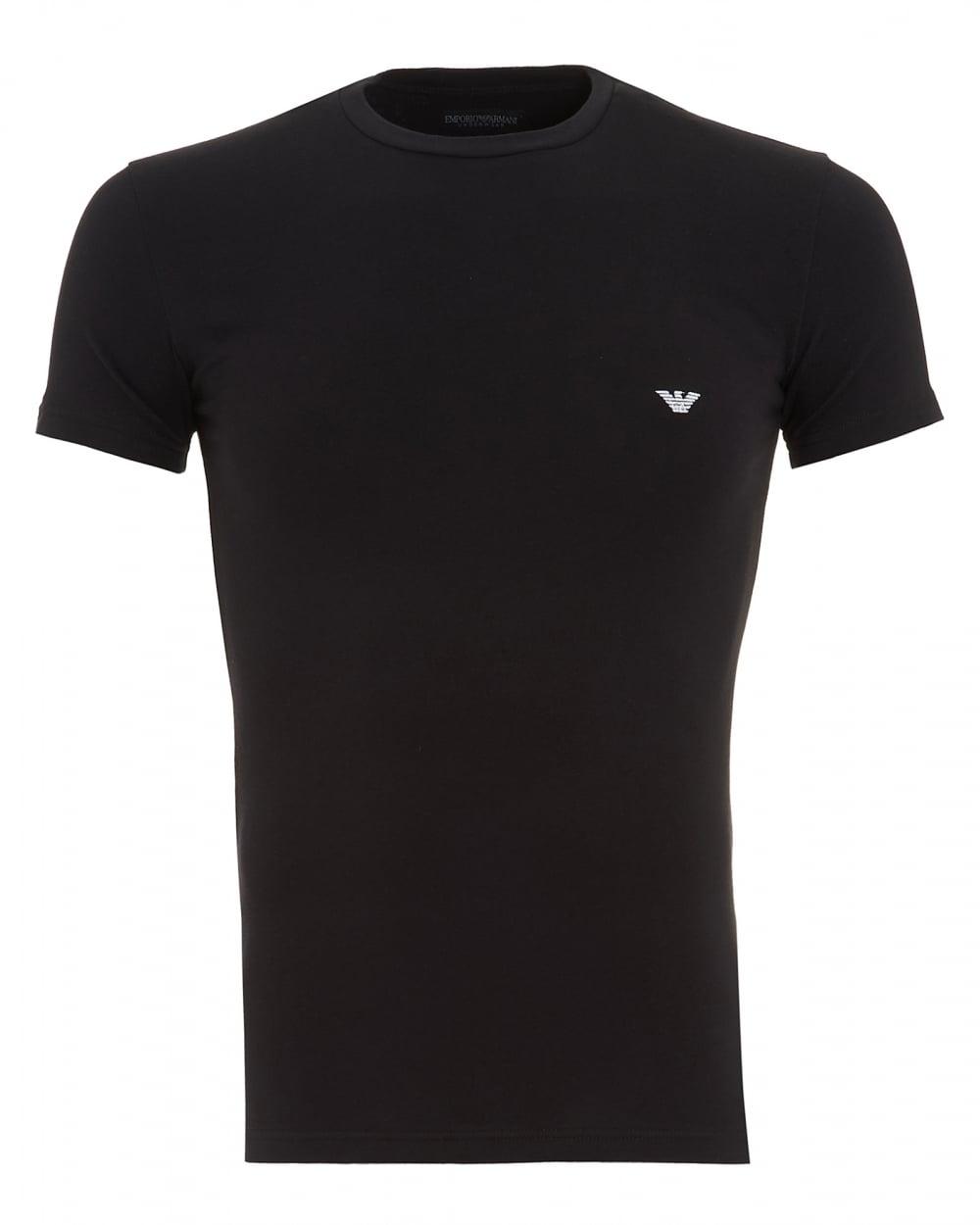 Emporio Armani Mens T Shirt Black Small Logo Tee