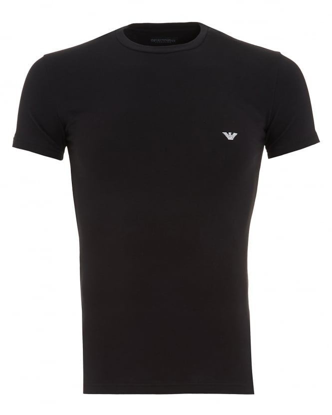 Emporio Armani Mens T-Shirt, Black Small Logo Tee