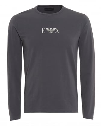 Mens T-Shirt, Central Logo Grey Long Sleeved Tee