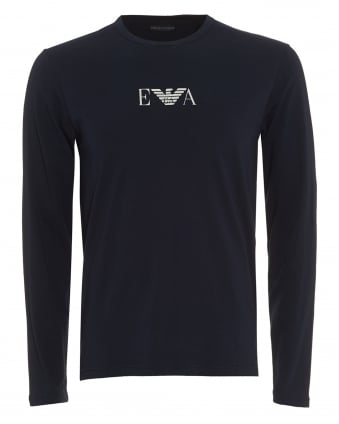 Mens T-Shirt, Central Logo Navy Blue Long Sleeved Tee